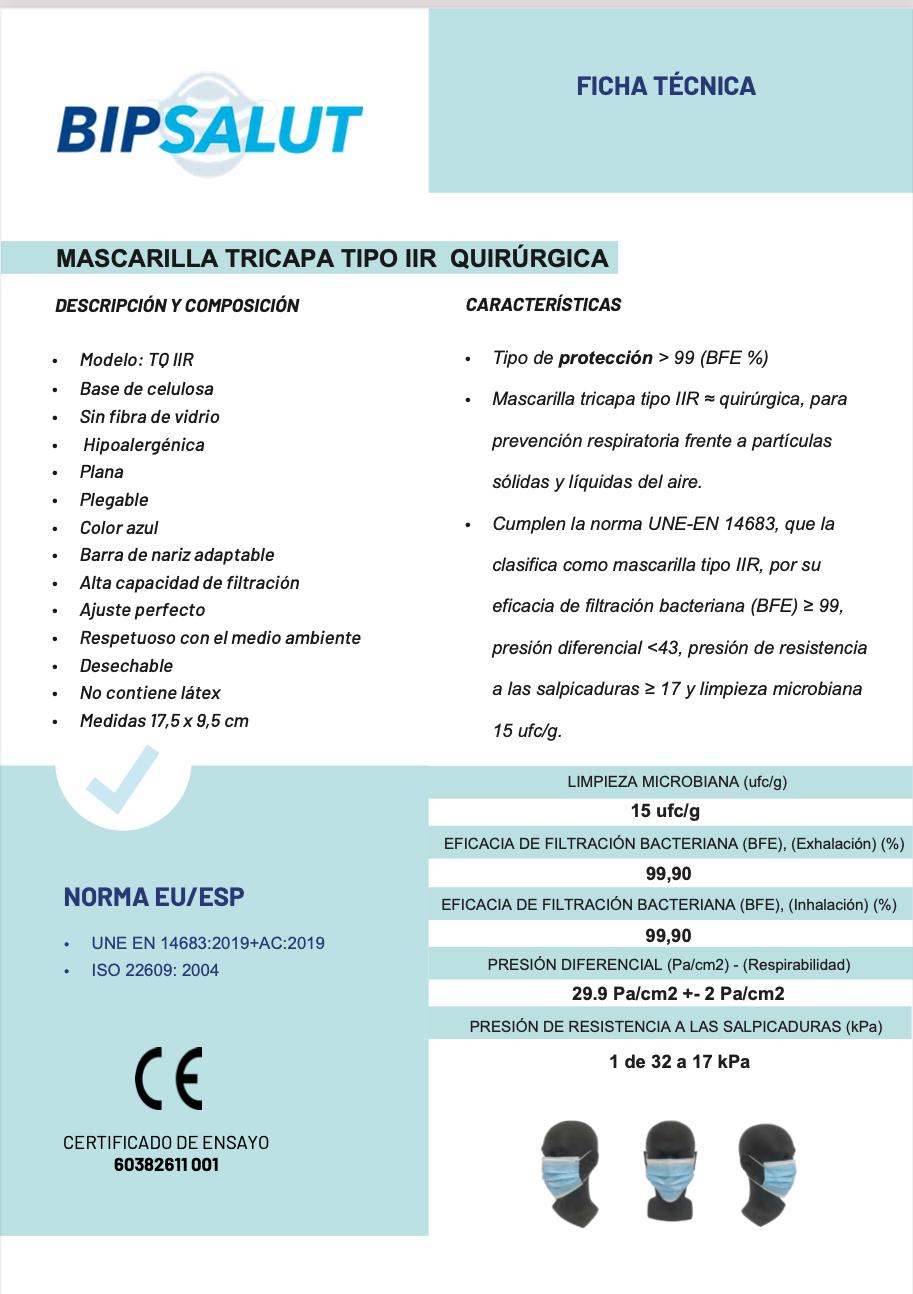 Ficha Técnica Mascarilla Quirúrgica Negra Parafarmacia Cartagena 24H