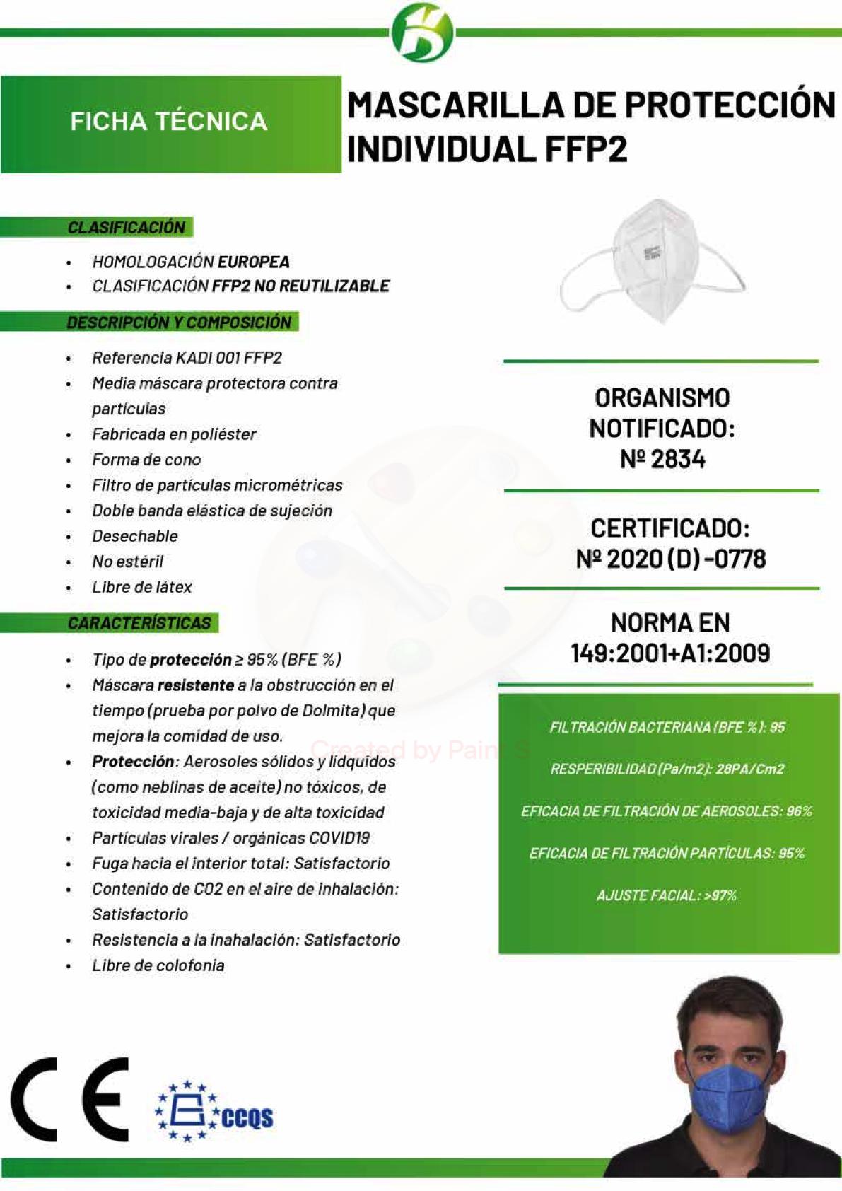 Ficha técnica Mascarillas FFP2 Parafarmacia Cartagena 24H